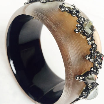 Alexis Bittar Brown Lucite And Crystal Wide Cuff Bracelet
