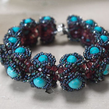 Tutorial Aglio Bracelet, segmented bracelet beading pattern, pdf tutorial, photo tutorial