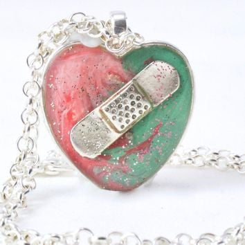 Pink & Mint Bandaid Necklace