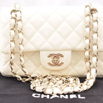 Authentic CHANEL Lamb Skin Matelasse 20 Chain Shoulder Bag Cream CC 46237