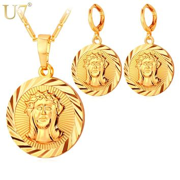U7 Jesus Piece Fashion Necklace Earrings Sets Women Gold/Silver Color Cross Religious Jewelry Sets For Women S712