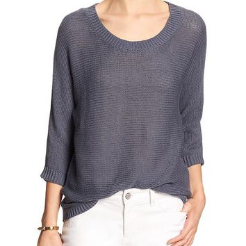 Banana Republic Womens Factory Linen/Cotton Open Weave Sweater