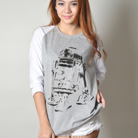 R2D2 Star Wars Graphic Printed Baseball Tee Shirt