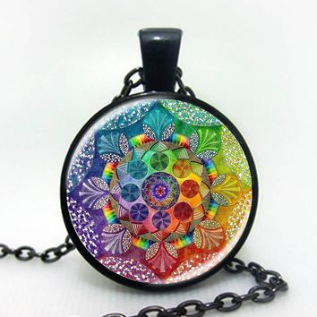 Handmade henna yaga necklace om symbol buddhism Mandala Necklace Pendant Art Jewelry Glass Photo Necklace black