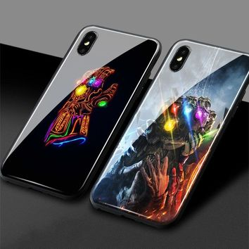 Avengers Gauntlet Glossy Tempered Glass Phone Case Soft Silicone Shell Cover For Apple iPhone 5 5s Se 6 6s 7 8 Plus X XR XS MAX