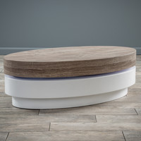 Arlo Oval Mod Rotatable Coffee Table with Sonoma Top
