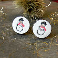 Ceramic Cufflinks Snowman Pottery Accessories Holiday Cufflinks Best Man Groomsman