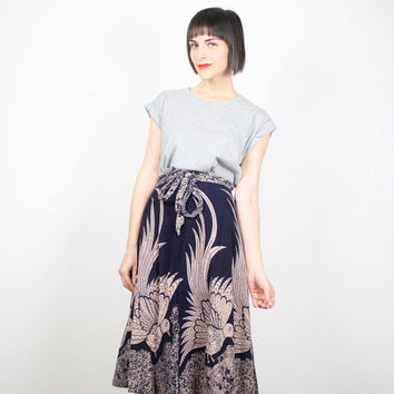 Vintage Hippie Skirt Wrap Skirt India Skirt Navy Tan Bird Print Skirt Peacock Phoenix Print Boho Ethnic Midi Skirt S Small M Medium L Large