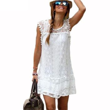 Ukraine Robe Femme Sexy Clothing White Dress With Lace Girl Mesh Women Summer Beach  Big Plus Size Prom Tunic Dresses Sarafan