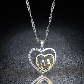 New Gold And Silver Color Family Love Cubic Zircon Mother Son Baby Daughter Heart Pendant Necklace For Women Mother's Day Gifts