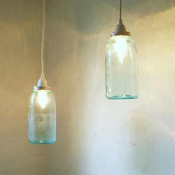 Set of 2 Mason Jar Pendant Lights Blue Half Gallon by BootsNGus