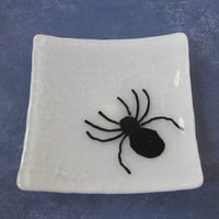 Spider Jewelry Plate, Glass Soap Dish, Candle Holder, Halloween Plate, Home Decor Plate - Spiders - 250 -4