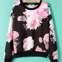 Floral Cuff Sleeve Sweater