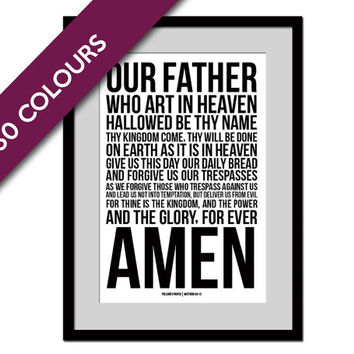 Lord's Prayer Matthew 6:9-13 - Scripture Art - Scripture Art Print - Christian Wall Decor - Bible Verse - Biblical Art Print - Inspirational