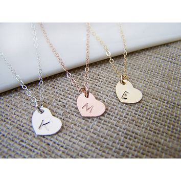 Tiny Heart Initial Disc Gold Filled, Rose Gold Filled or Sterling Silver Bar Minimalist Necklace / Gift for Her