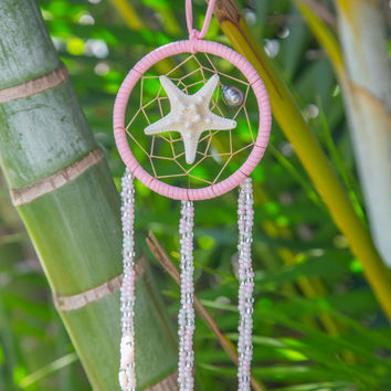 NOMAD HAWAII Small Ocean Dreamcatcher - Tahitian Pearl/Baby Pink