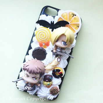 Custom kawaii anime manga Attack on Titan Decoden Phonecase for Iphone 4/4s 5 6, Galaxy s3 S4 s5 and more