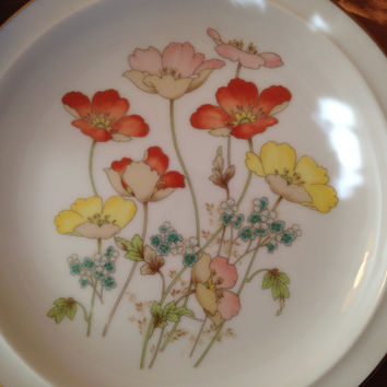 Painted Poppies cup and plate set! Circa 1980s