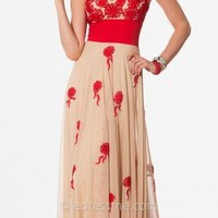 Embroidered Nude Sweetheart Evening Dresses by Nika