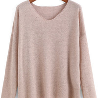 Sweater Pink Fall V Neck Light Soft Sweater