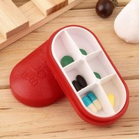 ONETOW New Red Pill Storage Box Portable Travel Emergency First Aid Kits 6-Slot Medical Pill Box Holder Medicine Drug Case