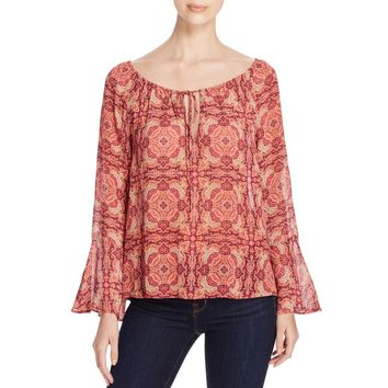 Sanctuary Womens Lyric Printed Keyhole Peasant Top