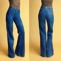Over The Rainbow 1970's Primary Color Trim Bellbottom Jeans