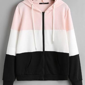 Zip Up Color Block Drawstring Cotton Hoodie Jacket
