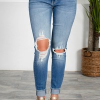 Shredded Pale Wash Denim