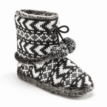 Mudd® Knit Pom-Pom Bootie Slippers - Women
