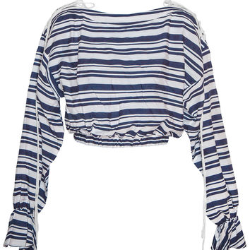 Sail Away Navy and White Stripe Top