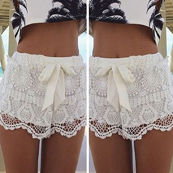 Ularmo Women Girl Lace Hem Crochet Chiffon Belt Summer Beach Shorts Pants