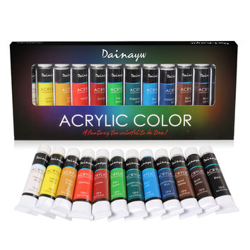 Dainayw Waterproof 12 Colors 12ML Tube Acrylic Paint Set Color Nail Glass Art Painting Paint for Fabric Drawing Tools Kids DIY