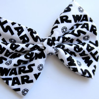 Star Wars Hair Inspired Bow - Black and White Star Wars Logo Hair Bow with Clip