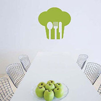 Chef Hat Fork and Spoon Kitchen Decoration Sticker Wall art Decal Vinyl tr1837