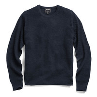 Waffle Crewneck Sweater In Navy