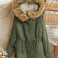 Retro Style Dark Green Faux Fur Accent Collar Hooded Cotton Gathered Waist Coat