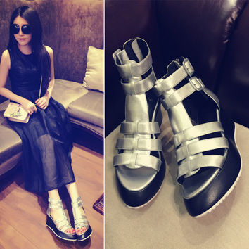 Comfort Hot Deal Casual Stylish On Sale Hot Sale Summer Wedge Sandals Peep Toe Platform High Heel Leather Boots Sneakers [6050210625]