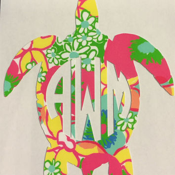 Turtle Monogram Vinyl Sticker inspired by Lilly Pulitzer and the Beach  - Just for you!