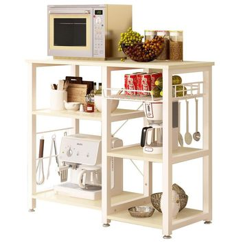 Beige Stainless Steel Bakers Rack with Wood Cutting Board