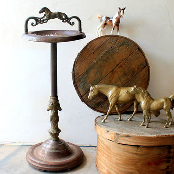 Antique Equestrian Horse Floor Stand Standing Vintage Ashtray Brass and Metal Display Showpiece Super Rusty