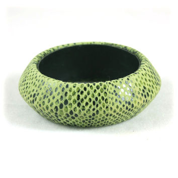Suede Snakeskin Wide Bangle Bracelet
