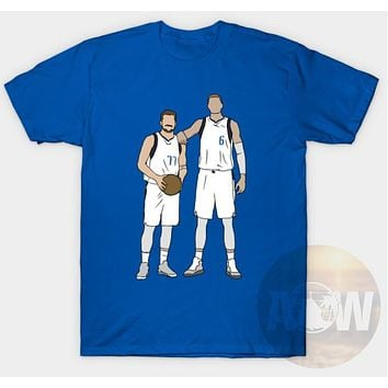 Luka Doncic and Porzingis Dallas Mavericks Basketball Tee Adult Unisex T Shirt
