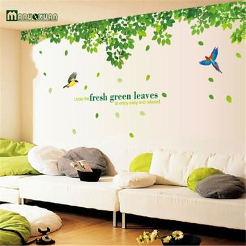 2016 Hot Removable Green Tree Leaves Bird Wall Vinyl Sticker Art Mural Decal Home Decor