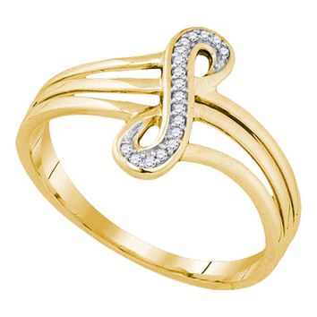10kt Yellow Gold Womens Round Diamond Vertical Infinity Strand Ring 1/20 Cttw