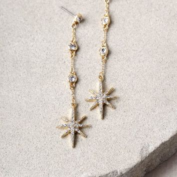 North Star Gold Rhinestone Earrings