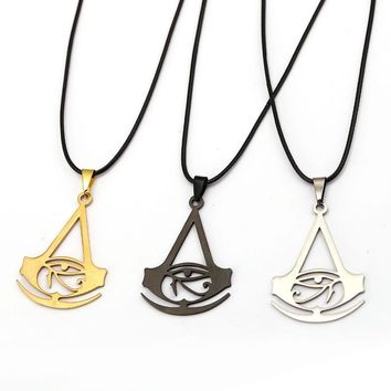 HSIC Assassins Creed Necklace Gold Silver Assassins Creed Logo Badge Game Cosplay Women Men Statement Necklace HC12292