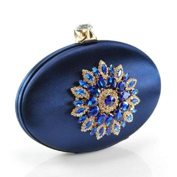 Women's Fashion Party Cocktail Prom Handbag Crystal Metal Flower Appliques Navy Blue Evening Clutch Bag Wedding Clutches Purse