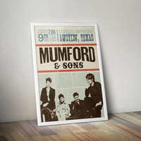 Mumford & Sons Poster, Vintage Poster, Music Poster, Vintage Music Print, Music Print, Typography Poster, Typography Print