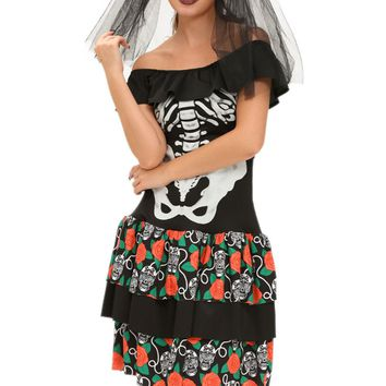 Women Sexy X-rayed Skeleton costume Dead Bride dress Halloween Deluxe Gothic skeleton cosmic print Carnival Party Dress 89007